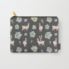 Cute Llamas & Amaryllis Floral Pattern Carry-All Pouch