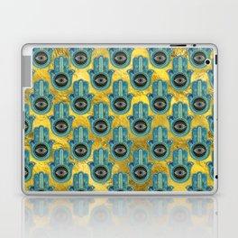 Decorative Hamsa Hand pattern on gold Laptop & iPad Skin