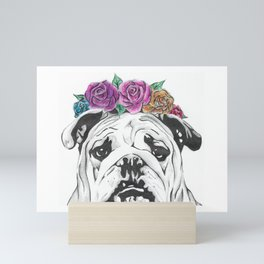 Flower Crown Bulldog Mini Art Print