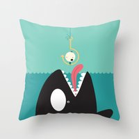 orca Throw Pillows featuring orca by Alfonso Cervantes