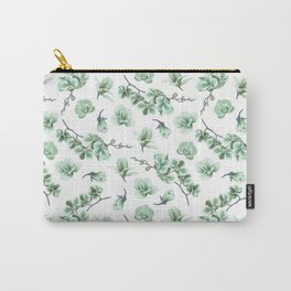 Pastel green watercolor modern orchid floral pattern Carry-All Pouch