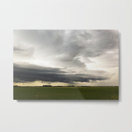 Shelf Cloud Over a Soybean Field Metal Print