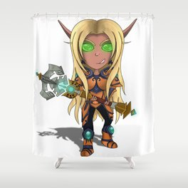 Blood Elf Paladin Chibi Shower Curtain