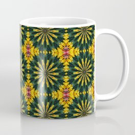 Green and Yellow Rich Colored Floral Tiled Pattern Coffee Mug
