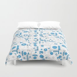 Blue White Geometric Shapes Duvet Cover