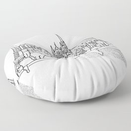 Notre Dame and Eiffel Tower travel scene Floor Pillow