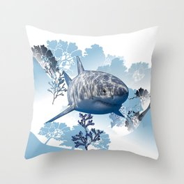 Blue shark coral seaweed wall hanging home deco Throw Pillow