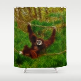 Gibbon in jungle Shower Curtain