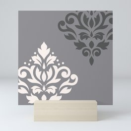 Scroll Damask Art I Cream & Grays Mini Art Print
