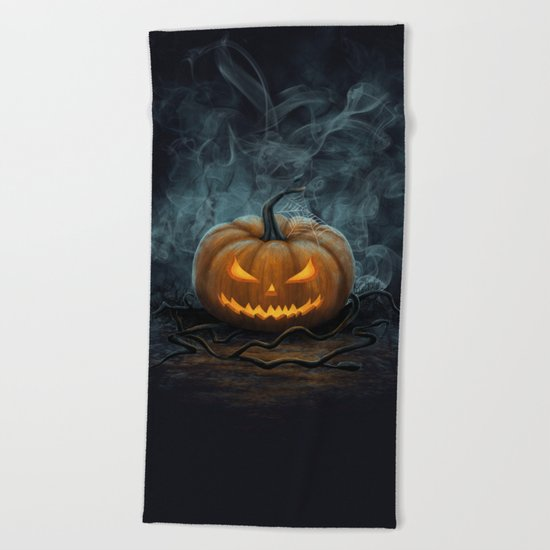 Halloween Pumpkin Beach Towel