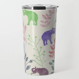 Watercolor Flowers & Elephants Travel Mug