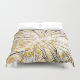 fall looking up Duvet Cover
