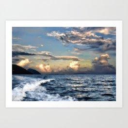 Sunset Wake Art Print