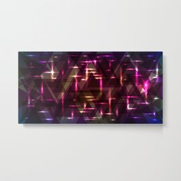 Glowing night purple triangles. Metal Print