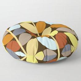 Retro 70s Color Palette Leaf Pattern Floor Pillow