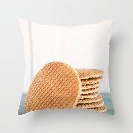 Stack of Dutch stroopwafel cookies Throw Pillow