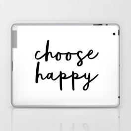 Choose Happy black and white contemporary minimalism typography design home wall decor bedroom Laptop & iPad Skin