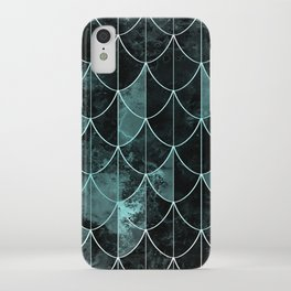Mermaid scales. Mint and black. iPhone Case