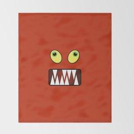 Funny monster face Throw Blanket