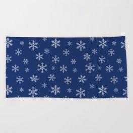 Snowflake Christmas pattern navy blue Beach Towel