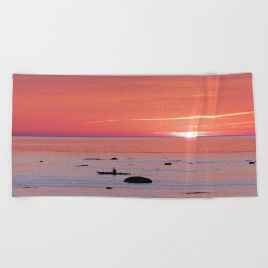 Kayaker and Bird at Last Light Beach Towel