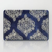 texture iPad Cases featuring Cream Floral Moroccan Pattern on Deep Indigo Ink by micklyn