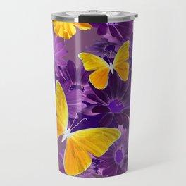 PURPLE  & YELLOW COREOPSIS  BUTTERFLIES FLORAL ART DESIGN Travel Mug