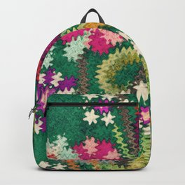 Starry Floral Felted Wool, Green Backpack