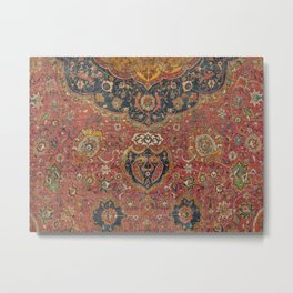Persian Medallion Rug I // 16th Century Distressed Red Green Blue Flowery Colorful Ornate Pattern Metal Print