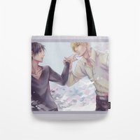yaoi Tote Bags featuring awareness by washuuchan