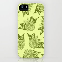 Cabbage Roses in Chartreuse iPhone Case