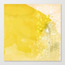Watercolor Dandelions:  Artistic bold yellow on white Canvas Print