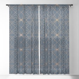 Navy & Copper Geo Lines Sheer Curtain