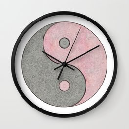 Yin Yang Esoteric Symbol Pastel Pink And Grey Wall Clock