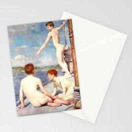 The bathers by Henry Scott Tuke Stationery Cards