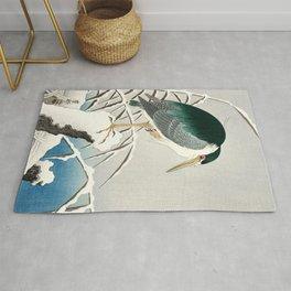 Heron in snow - Japanese vintage woodblock print art Rug