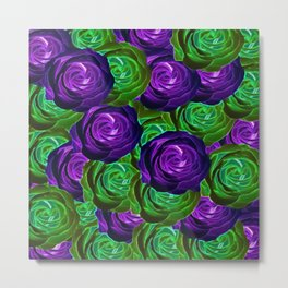 blooming rose texture pattern abstract background in purple and green Metal Print