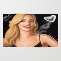 rihanna Area & Throw Rugs featuring Rihanna by Justinhotshotz