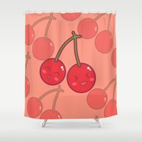 cherry Shower Curtains featuring Cherry by Ezra Dragon