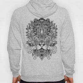 Black And White Geometric pattern mandala lion face Hoody