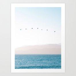 Modern Minimalist Pastel Blue Landscape Ocean Mountains Flock Of Birds Flying Art Print