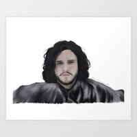 jon snow Art Prints featuring JON SNOW  by Flambino Gambino