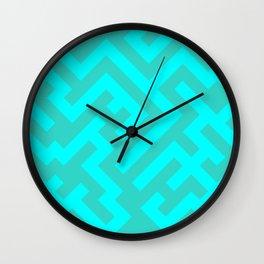 Cyan and Turquoise Diagonal Labyrinth Wall Clock