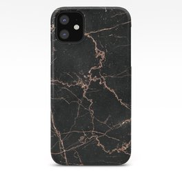 black and metallic rose gold glitter marble iPhone Case