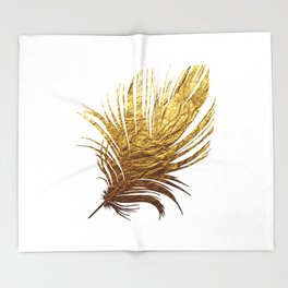 Golden Feather Throw Blanket