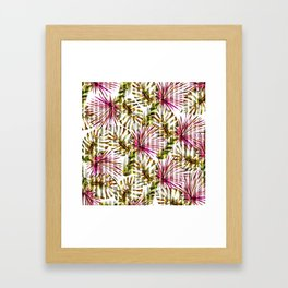 Tropical pink purple sunshine yellow palm tree stripes Framed Art Print