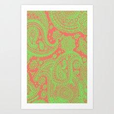 Sherbet Paisley Art Print