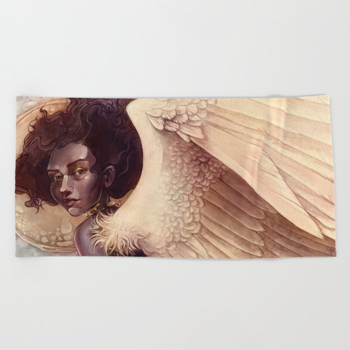golden angel Beach Towel