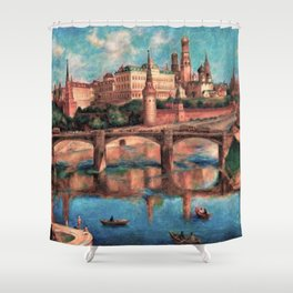 View of the Grand Kremlin Palace, Moscow, Russia by Pavel Sokolov-Skalya Shower Curtain