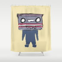 tape Shower Curtains featuring Tape Head by Luke Clark